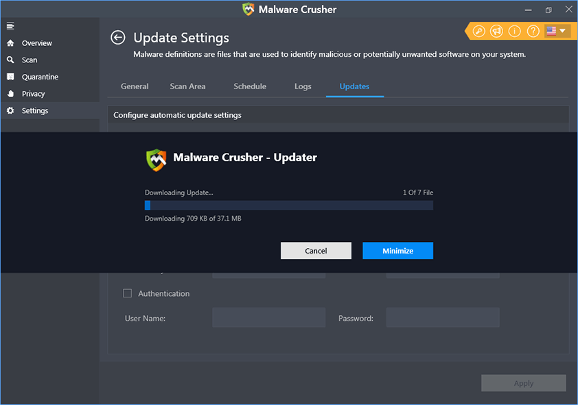 Malware Crusher downloading updates