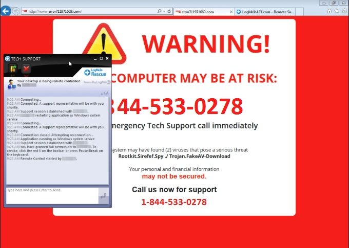 3 Minutes Tips to Remove 1-844-533-0278 Fake Security Pop Up Virus