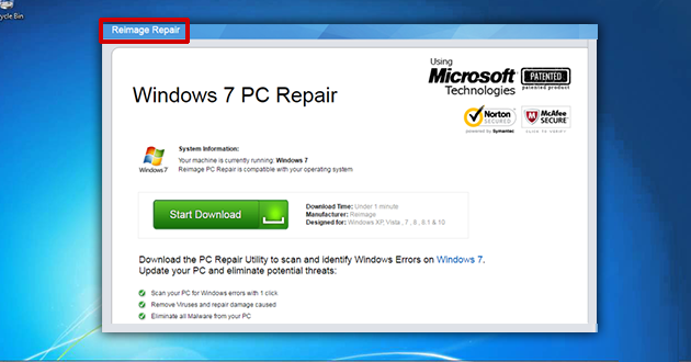 Reimage Repair Virus – How To Remove Reimage Repair Pop-Up Ads