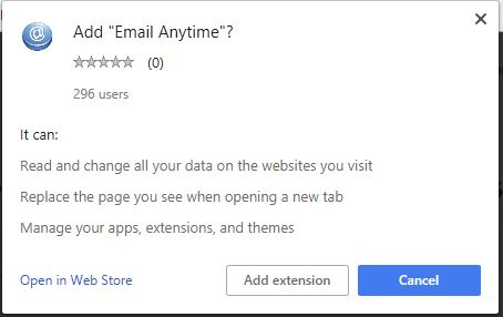 Email Anytime add extension