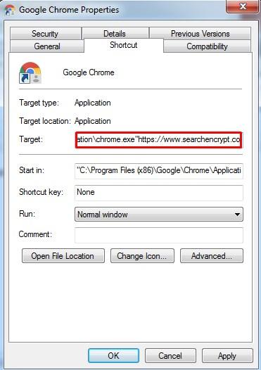 search encrypt browser shortcut