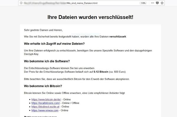 German language ransom note