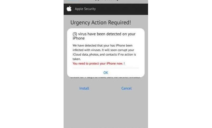 Apple Security Warning Detected