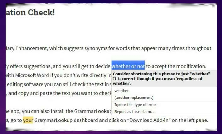 correction recommended by Grammarlookup