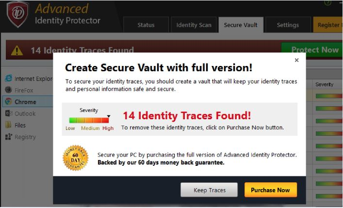 Fake warnings shown by Advanced Identity Protector