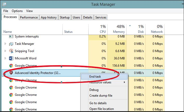 In Task Manager click on end task to quit Advanced Identity Protector