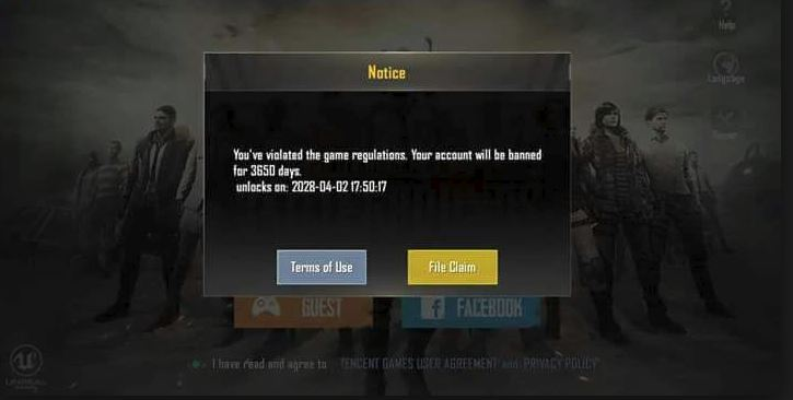 PUBG account banned