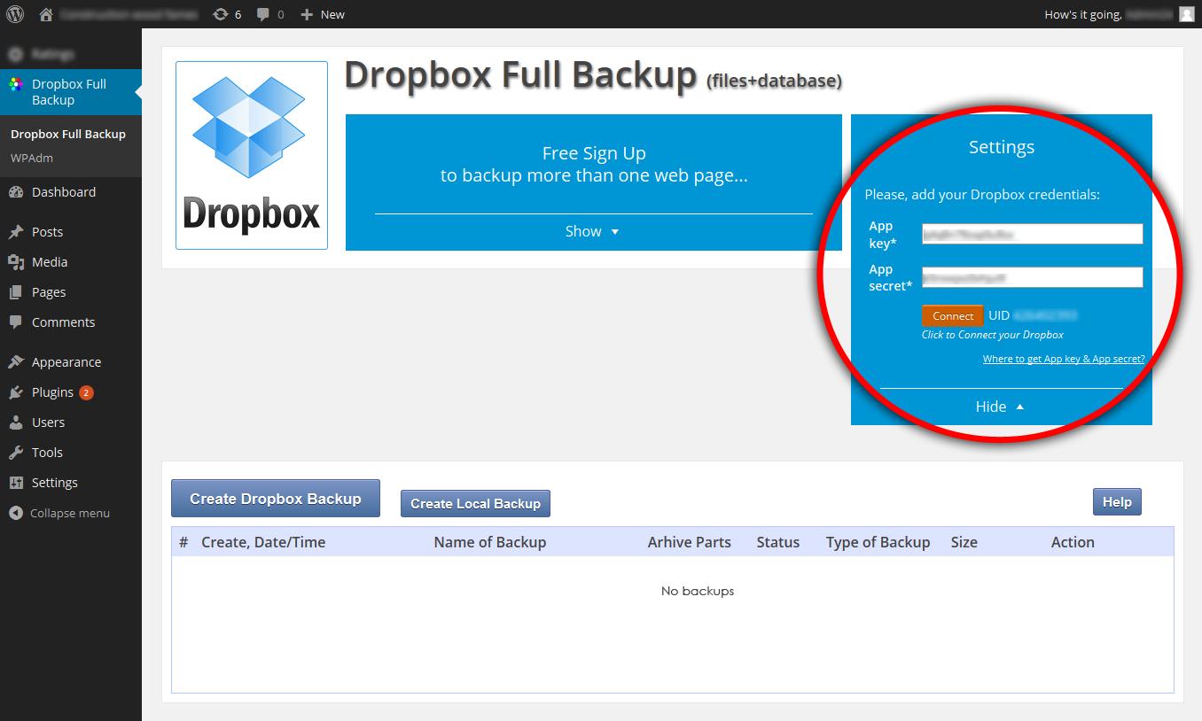Back up using Dropbox