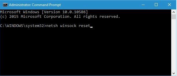 WiFi valid IP configuration netsh winsock reset