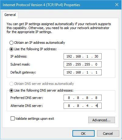 Enter DNS server and IP manually