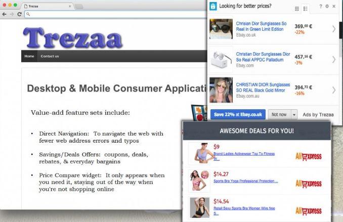 forced ads by Trezaa malware