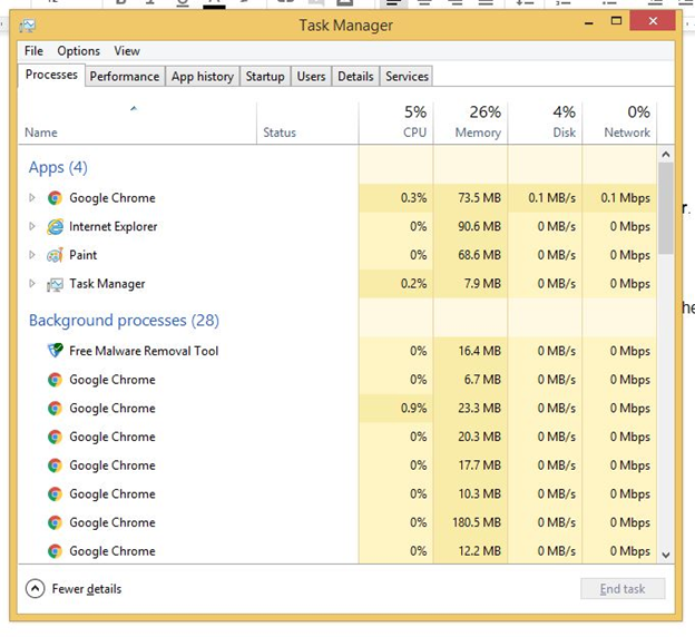 Remove Winlock virus by End all Task manager process related to WinLock
