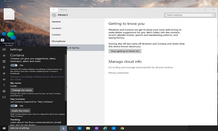 Turn of Cortana in Windows 10