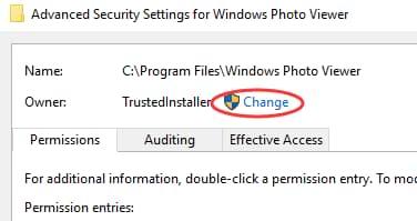 click on Change next to Owner TrustedInstaller