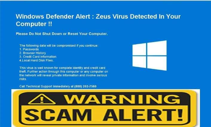 Zeus Virus detected warning