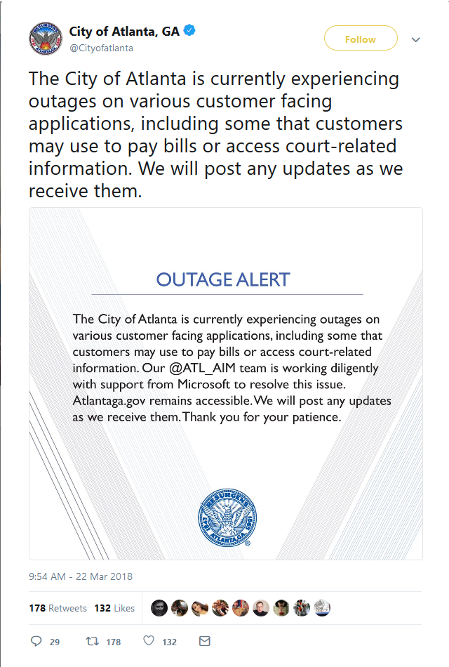City of Atlanta tweets on Atlanta ransomware Attack