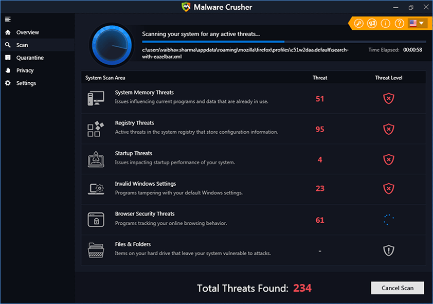 Malware Crusher Scannig The System