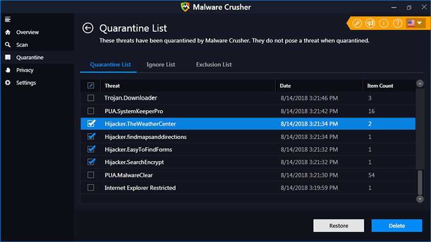 Quarantine Lists Of Malware Crusher