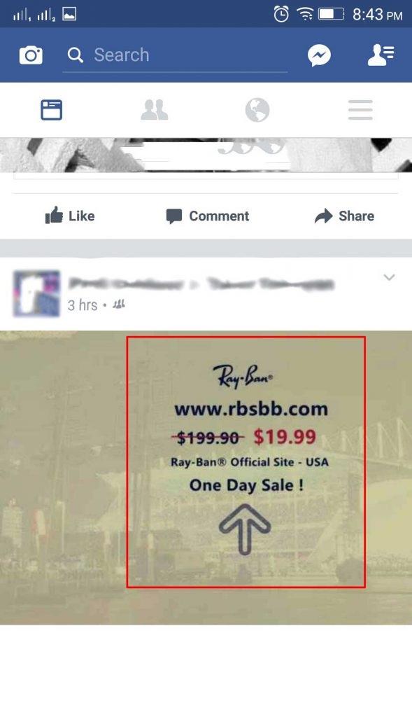 rayban virus facebook offer image