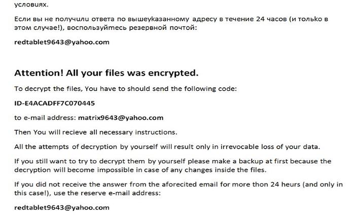 Matrix CHE08 Ransomware Note