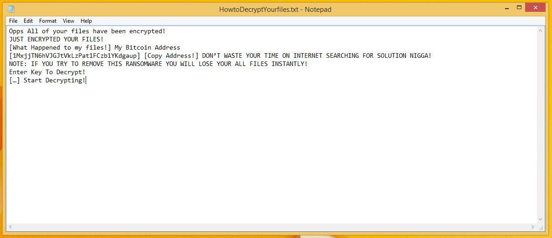 NinjaLoc Ransom Note