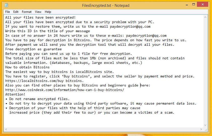 Paydecryption@qq.com Ransom Note
