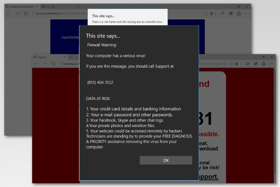 Microsoft edge virus warning