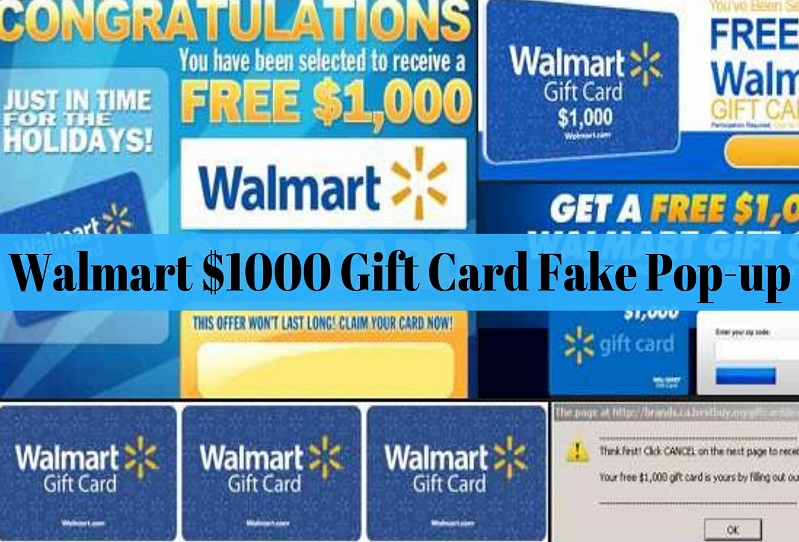Walmart $1000 Gift Card – Scam, Fake Pop-up Ad [Beware]