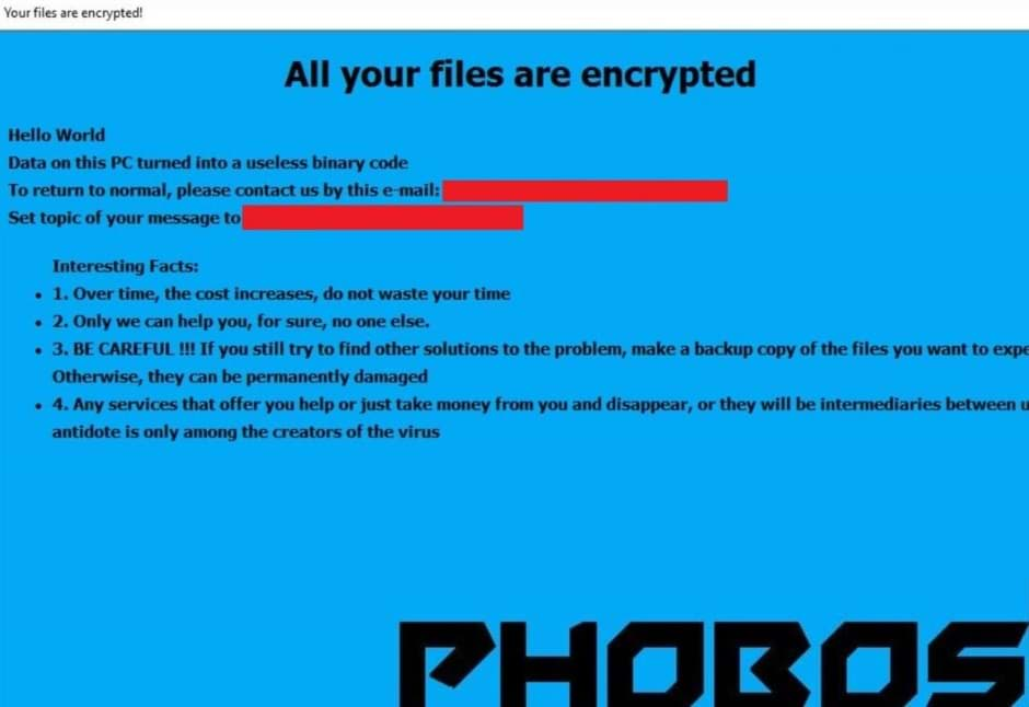Best Guide to Remove Cadillac.407@aol.com Phobos Ransomware