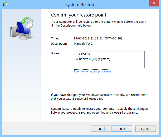 System Restore page