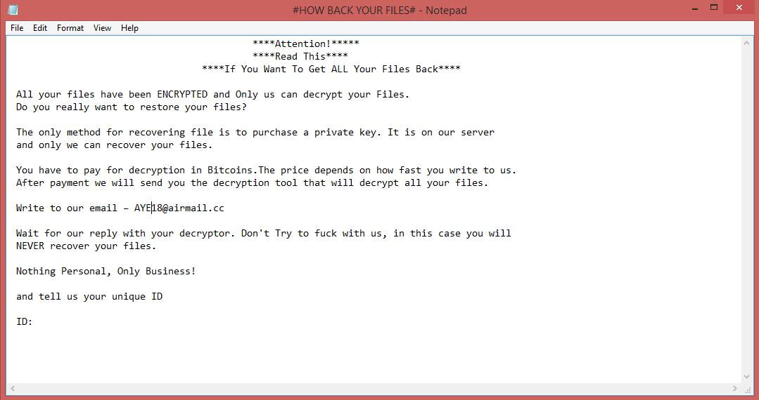 AYE Ransom Note