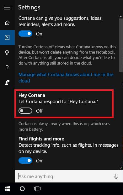 Enable Hey Cortana