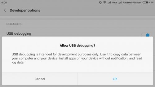 Enable USB Debugging