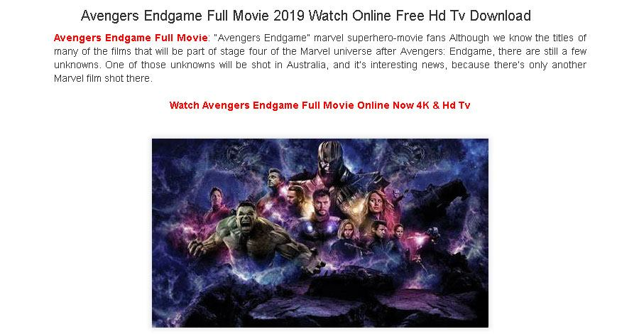 Avengers: Endgame Download Scam